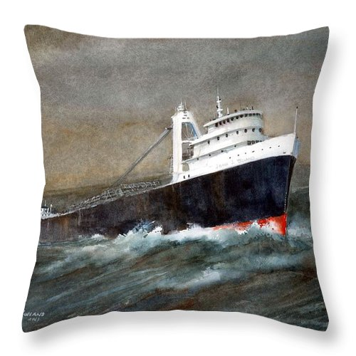 Ships Throw Pillow featuring the painting The John J Boland by Charles Rowland