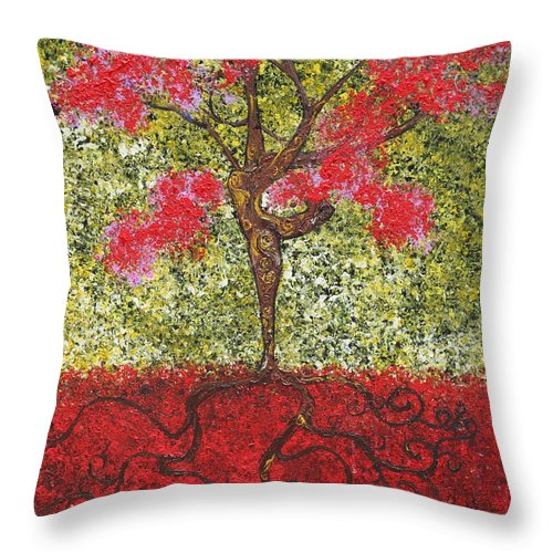 Dancer Throw Pillow featuring the painting The Lady Tree Dancer by Stefan Duncan