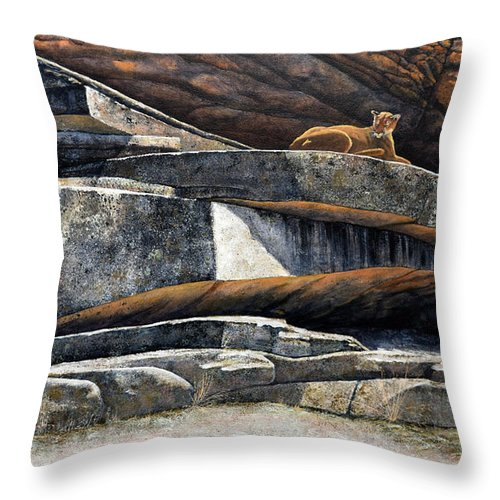 Wildlife Throw Pillow featuring the painting The Loner Cougar by Frank Wilson
