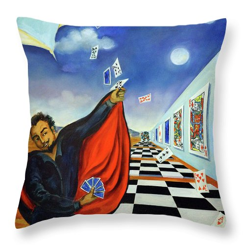 Surreal Landscape Throw Pillow featuring the painting The Magician by Valerie Vescovi