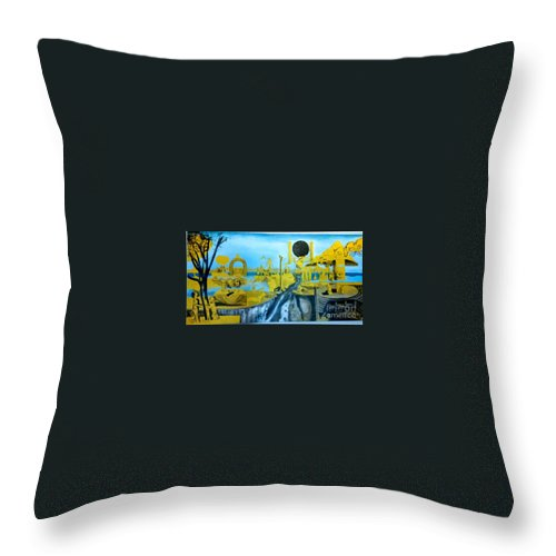 Throw Pillow featuring the painting The New Madrid Fault, unfinished by Jude Darrien