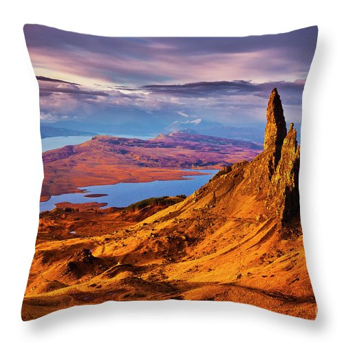 Old Man Of Storr Throw Pillow featuring the photograph The Old Man Of Storr At Sunrise, Isle Of Skye by Neale And Judith Clark