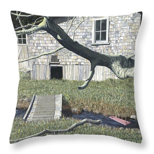Landscape Throw Pillow featuring the painting The Old Swing by Gary Giacomelli