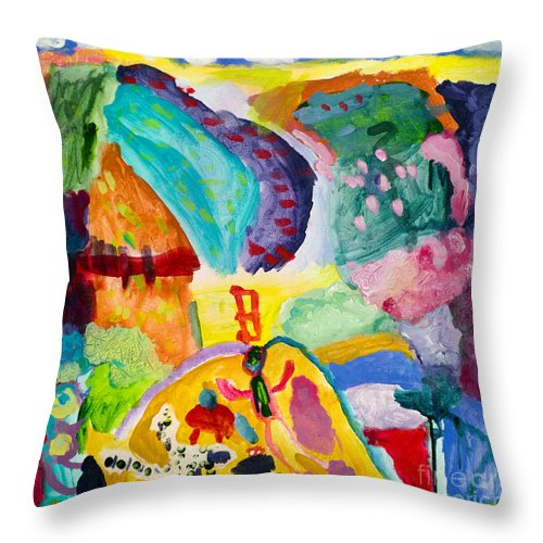 Landscape Throw Pillow featuring the painting The Picnic by Iniko Madsen