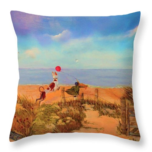 November 11th 2019 Throw Pillow featuring the painting The Red Balloon by Jane Simpson