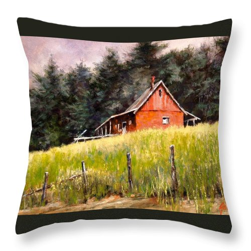 Landscape Throw Pillow featuring the painting The Red Coach Stop by Jim Gola