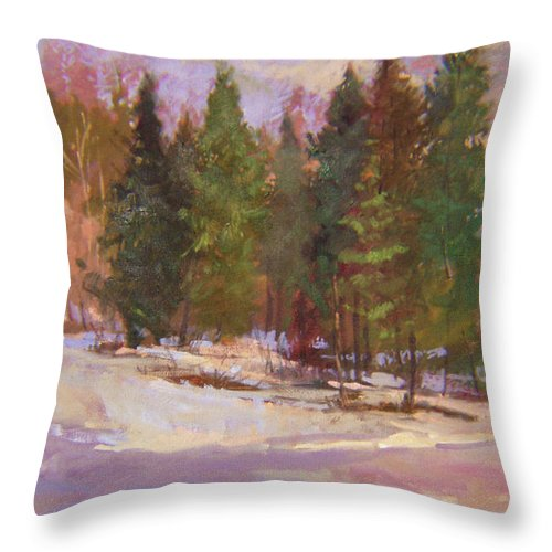 Plein Air Painting Throw Pillow featuring the painting The Road Home Plein Air by Betty Jean Billups