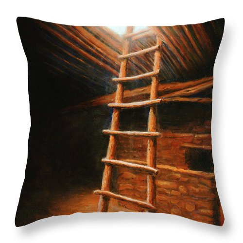 Kiva Throw Pillow featuring the painting The Second World by Jerry McElroy