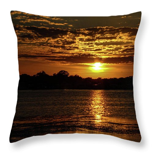 Sunset Throw Pillow featuring the photograph The Sunset over the Lake by Daniel Cornell