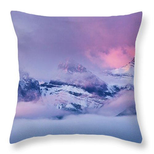 Rocky Mountains Throw Pillow featuring the photograph The Three Sisters Peaks At Sunrise, Canmore, Alberta, Canada by Neale And Judith Clark