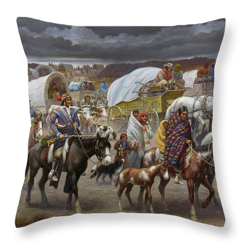 1838 Throw Pillow featuring the painting The Trail Of Tears by Granger