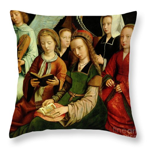 St Throw Pillow featuring the painting The Virgin Among The Saints, Detail by Gerard David