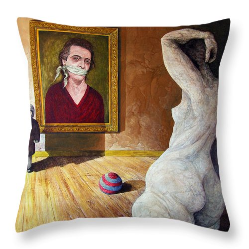 Surrealism Throw Pillow featuring the painting The Visitor by Otto Rapp