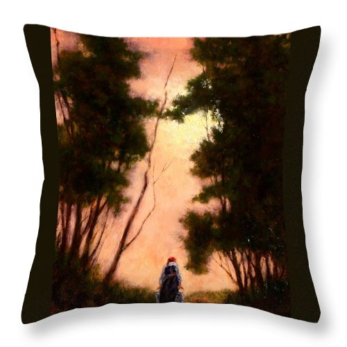Landscape. Oil Painting Throw Pillow featuring the painting The Walk Home by Jim Gola