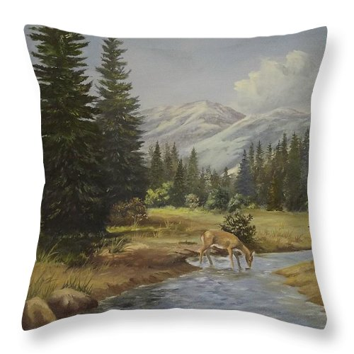 Mountains Throw Pillow featuring the painting The Wildlife Trail by Wanda Dansereau