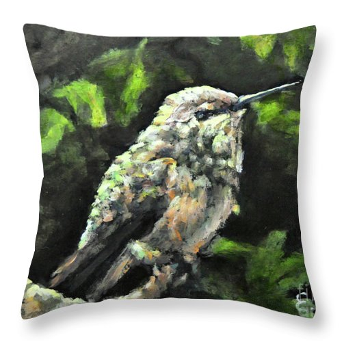 Hummingbird Throw Pillow featuring the painting This Hummingbird Loves my Green Tree Maple by Eileen Fong