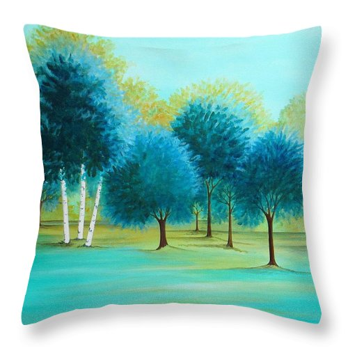 Social Spacing Throw Pillow featuring the painting Three Birch Trees by Carol Sabo