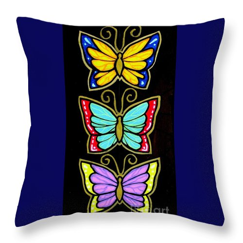 Butterflies Throw Pillow featuring the painting Three Gilded Butterflies by Jim Harris