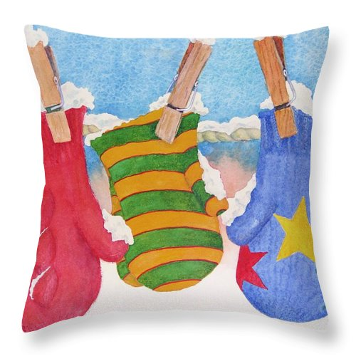 Christmas Card Throw Pillow featuring the painting Three Little Mittens by Mary Ellen Mueller Legault