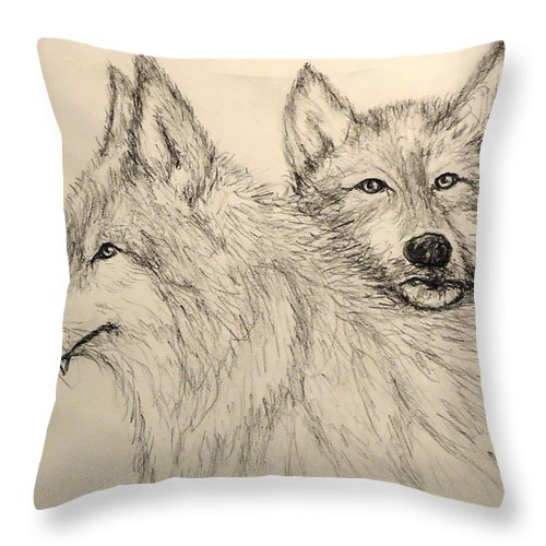 Wolves Throw Pillow featuring the drawing Timberwolf by Pete Maier