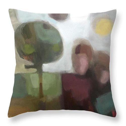 Landscape Throw Pillow featuring the painting Together by Farhan Abouassali