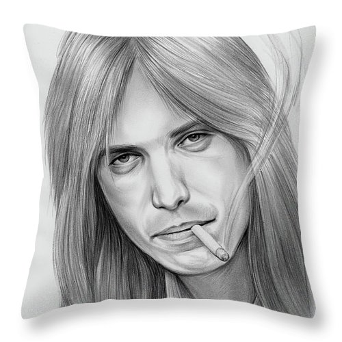 Tom Petty Throw Pillow featuring the drawing Tom Petty - Pencil by Greg Joens