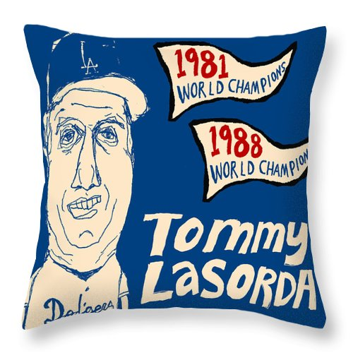 Los Angeles Dodgers Throw Pillow featuring the painting Tommy Lasorda Los Angeles Dodgers by JB Perkins