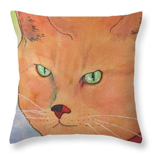Kittycat Throw Pillow featuring the painting Tommy by Mary Ellen Mueller Legault