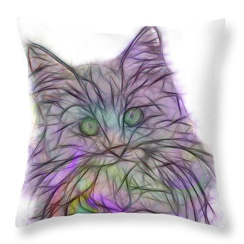 Cats Throw Pillow featuring the digital art Too Cute by John Robert Beck