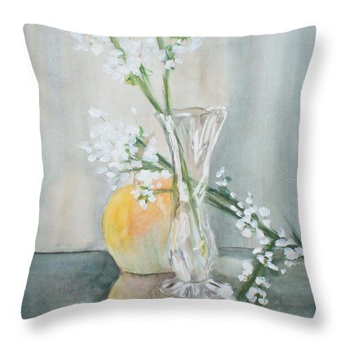 Watercolor Throw Pillow featuring the painting Touch Of Autumn by Shelley Jones