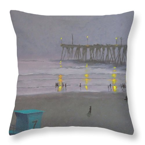 Evening Throw Pillow featuring the painting Tower Number Seven Evening by Philip Fleischer
