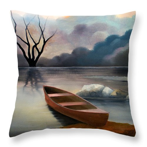 Duck Throw Pillow featuring the painting Tranquility by Sergey Bezhinets