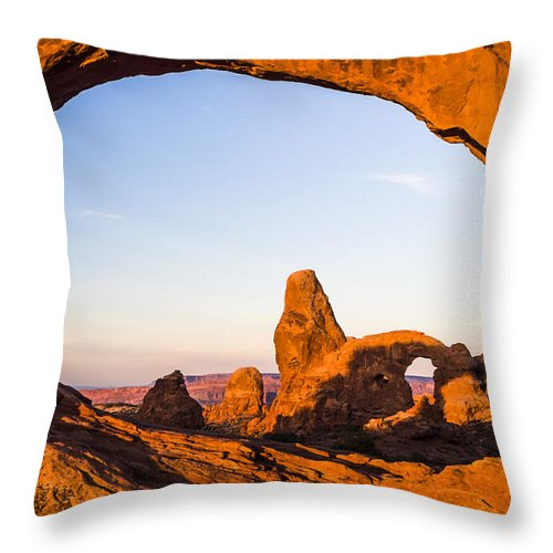 3scape Throw Pillow featuring the photograph Turret Arch at Sunrise by Adam Romanowicz