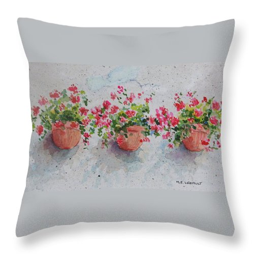 Florals Throw Pillow featuring the painting Tuscan Flowers by Mary Ellen Mueller Legault