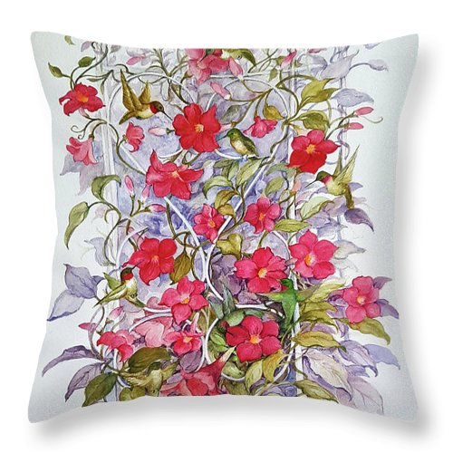 Birds Throw Pillow featuring the painting Twelve Little Hummingbirds by Lois Mountz