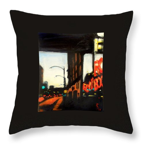 Rob Reeves Throw Pillow featuring the painting Twilight in Red and Black by Robert Reeves