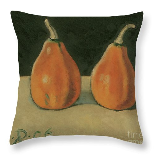 Still-life Pumpkins Orange Throw Pillow featuring the painting Two Orange Pumpkins by Raimonda Jatkeviciute-Kasparaviciene