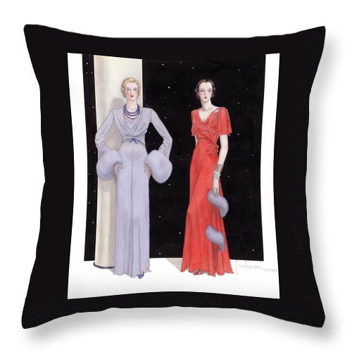 Holiday Throw Pillow featuring the drawing Two Women in Evening Gowns on a Starry Night by Georges Lepape