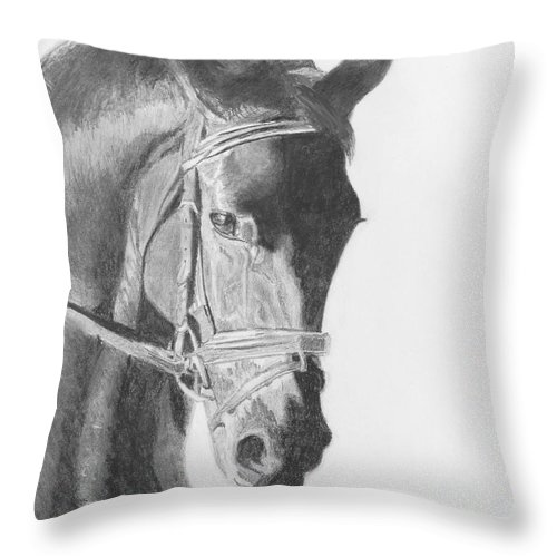 Horse Throw Pillow featuring the drawing Tyberius by Quwatha Valentine