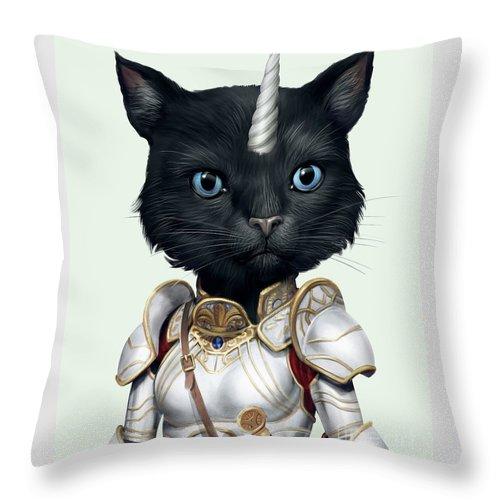 Unicorn Throw Pillow featuring the digital art Unicorn Black Cat by Trindira A