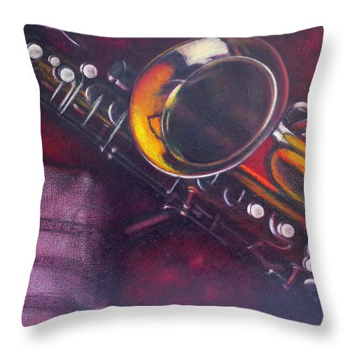 Oil Painting On Canvas Throw Pillow featuring the painting Unprotected Sax by Sean Connolly