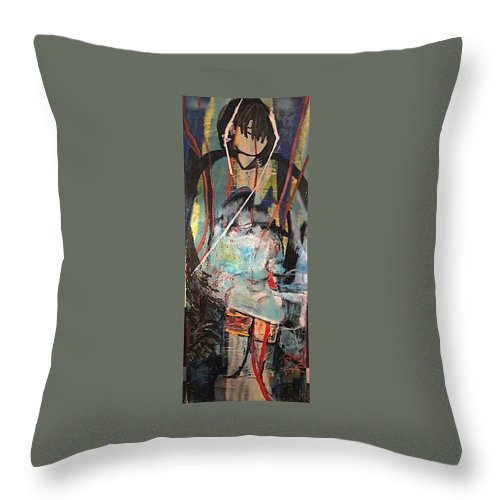 Native American Throw Pillow featuring the painting Aiyana by Peggy Blood