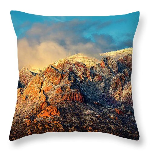 Albuquerque Throw Pillow featuring the photograph Unveiling Sandia Mountain and Crest by Zayne Diamond Photographic