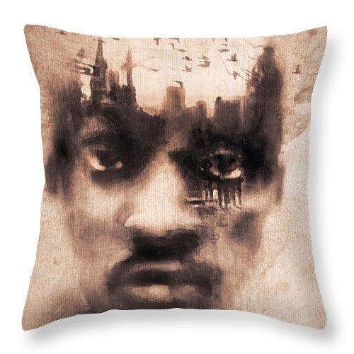 Digital Image Throw Pillow featuring the digital art Urban Mindset by Regina Wyatt