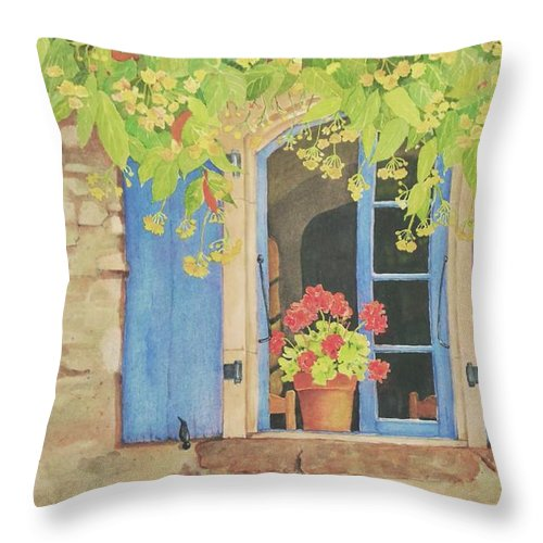 France Throw Pillow featuring the painting Vacation Memory by Mary Ellen Mueller Legault