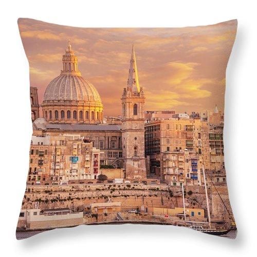 Valletta Skyline Throw Pillow featuring the photograph Valletta Skyline At Sunset, Malta by Neale And Judith Clark