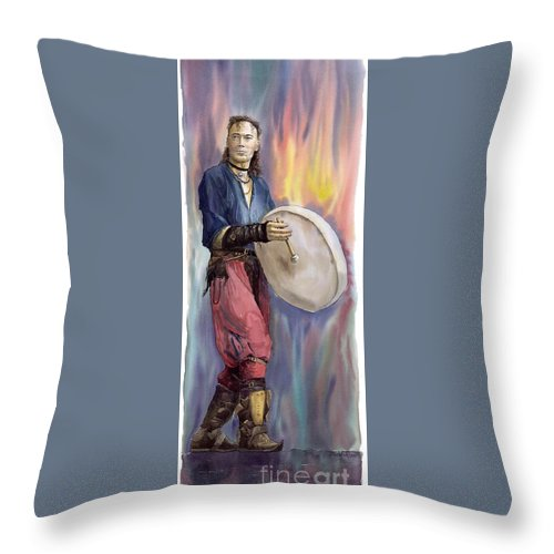 Watercolor Throw Pillow featuring the painting Varius Coloribus Steve O Klat by Yuriy Shevchuk
