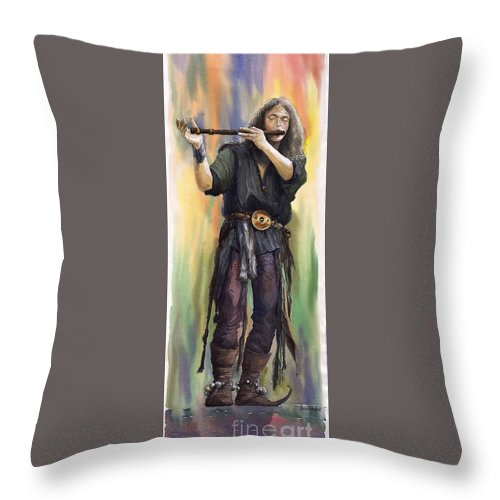 Instrument Throw Pillow featuring the painting Varius Coloribus The Morning Song Nils by Yuriy Shevchuk