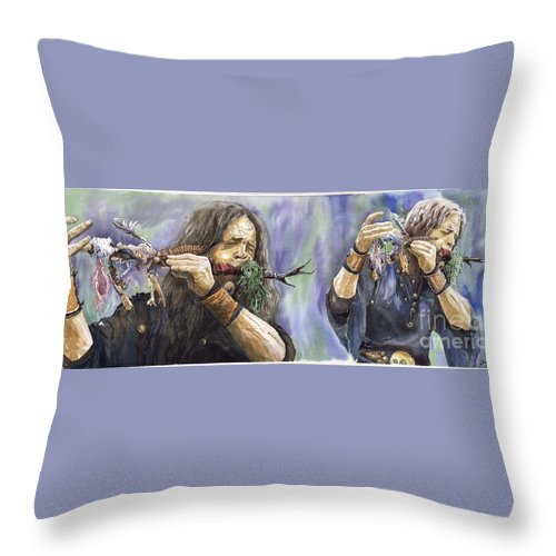 Watercolor Throw Pillow featuring the painting Varius Coloribus The Morning Song by Yuriy Shevchuk