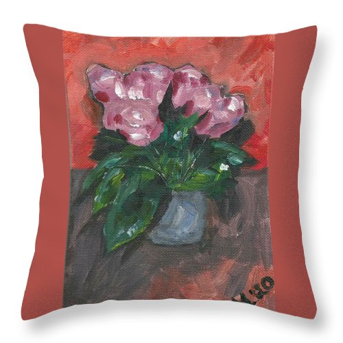 Rose Throw Pillow featuring the painting Vase Of Roses by Monica Resinger